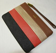 Fossil Red Black Gold Brown Patchwork Leather Sydney Pouch Wristlet Wallet