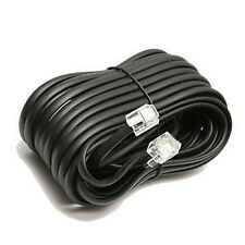 50' ft Telephone Extension Cord Phone Cable W Jacks RJ-11 4 Wire Line Black AD65