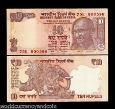 INDIA 10 RUPEES 2015-2016 GANDHI TIGER RHINO Raghuram Rajan UNC CURRENCY 20 PCS