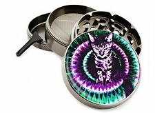"Trippy Kitty 4 Piece Large Silver Aluminum or Zinc Metal Herb Grinder 2.5"" Ti..."