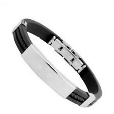New Mens Women Braided Silica gel Rubber Stainless Steel Magnetic Clasp Bracelet