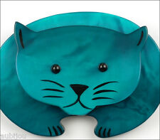 PAVONE FIGURAL GALALITH BLUE TURQUOISE ROUND CAT PET BROOCH PIN FRANCE PARIS