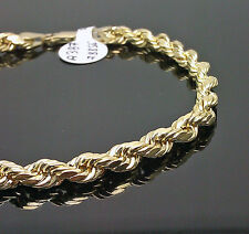 10K Men's Yellow Gold Rope Bracelet 5mm 7.5 Inches Long # A3B5