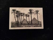 Leavenworth PYRAMIDS Rubber Stamp EGYPT Ancient PALM TREES Travel Desert Scenery
