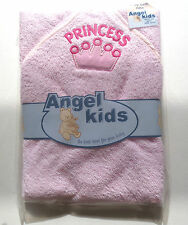 PINK BABY HOODED TOWEL/BATH ROBE WITH PRINCESS AND CROWN MOTIF