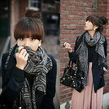Women Lady Vintage Long Soft Cotton Voile Printed Scarves Shawl Wrap Scarf New