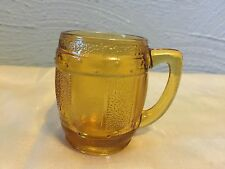 Vintage Miniature Amber Glass Beer Barrel Mug - Toothpick Holder or Cordial Cup