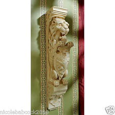 Set of 2: Medieval Heraldic Lion Corbel Replica Wall Sculpture Gothic Strength