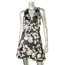 Alice + Olivia 4351 Womens Black Floral Print V-Neck Party Dress 6 BHFO