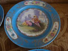 "Antique Old Paris 'Sevres Blue', Gold Enamel & HP  9 3/4"" Cabinet Plate"