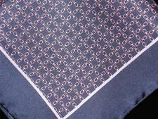 """WINDOM FINERY US NEW 14"""" ALL SILK POCKET SQUARE HAND ROLLED TRUE NAVY PRINT"""