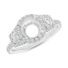 18K White Gold 6.5mm Round Semi Mount Diamond Engagement Ring 3 Stone Setting
