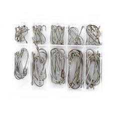 100pcs 10 Sizes Perforated Fresh Water Sea Fly Fishing Hooks Tackle With Box D87