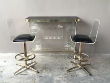 FABULOUS 70'S MOD SPACE AGE LUCITE BAR WITH 2 LUCITE BAR STOOLS -P