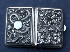 C1910 FINE CHINESE EXPORT SILVER CIGARETTE CASE  DRAGON ARGENT MASSIF CHINE