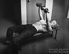 MARILYN MONROE WITH WEIGHTS PRINT BY PHILLIPPE HALSMAN 28X22 lifting poster gym