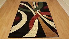 Rugs Area Circle Design Contemporary Style Area Rugs 5x7 Black Color Carpets
