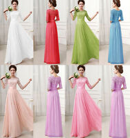 2015 New Chiffon Formal Evening Party Ball Gown Prom Bridesmaid Wedding Dress