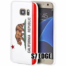 For Samsung Galaxy S7 Edge - Hard Gummy Rubber Case Cover White California Flag