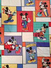 Vintage 1980s Disney Cool Mickey Mouse Twin Flat Bed Sheet Bedding Fabric
