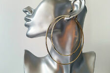 *NEW* HUGE 10cm DOUBLE GOLD TONE thin square tube BIG glitter edge hoop earrings