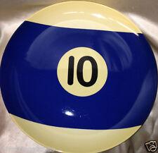 "BIA CORDON BLEU 2004 BILLIARD BALL #10 POOL TABLE  12"" PLATE PLATTER CUE BLUE"