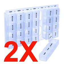 2 Pcs APEX 7 DAY 4X DAY PILL BOX ORGANIZER TABLET DISPENSER CONTAINER W/ BRAILLE