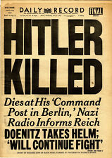 "Framed Print - ""Hitler Killed"" Newspaper Clipping (Picture Poster World War 2)"