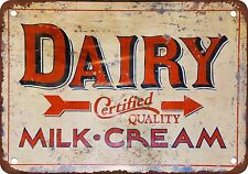 Dairy Certified Quality Milk and Cream Vintage Look Reproduction Metal Sign