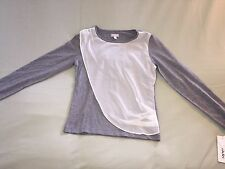 NEW TAHARI GIRLS LARGE L SILVER SHIRT HEATHER GREY WHITE