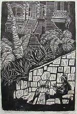 BARGAIN CATHARINE FELS AMERICAN WOODBLOCK HOUSE WITH STONE WALL 1965 LTD ED