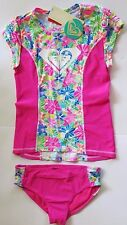 NWT Roxy -14- Bright Pink Logo Girls 2 Pc Rash Guard Tankini Swimsuit Set UV
