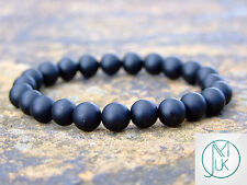 Black Onyx Matt Natural Gemstone Bracelet Elasticated 7-8'' Healing Stone Chakra
