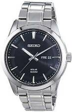 Seiko Men's Solar Analogue Day Date Watch, Stainless Steel