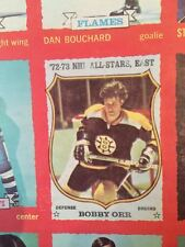 1973 74 OPC DOUBLE BLANK BACK UNCUT SHEET SERIES 1BOBBY ORR`S X4 CHECKLISTS!