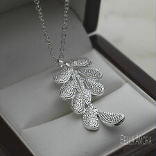 "925 Stamped Silver Textured Peace Leaf Branch Pendant 18"" Chain Necklace NEW 168"