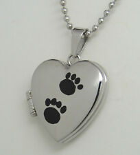 ADORABLE PAW PICTURE LOCKET NECKLACE PET MEMORIAL KEEPSAKE STAINLESS STEEL