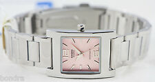 Casio LTP1283D-4A Ladies Pink Square Watch Stainless Steel Band Dress Quartz New