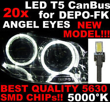 N° 20 LED T5 5000K CANBUS SMD 5630 Phares Angel Eyes DEPO Renault Clio 3 III 1D6