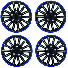 "14"" Inch Lightening Sports Wheel Cover Trim Set Black With Blue Ring Rims (4Pcs)"