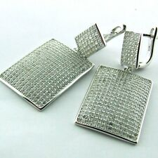 379 GENUINE REAL 925 STERLING SILVER ANTIQUE DIAMOND SIMULATED DROP EARRINGS