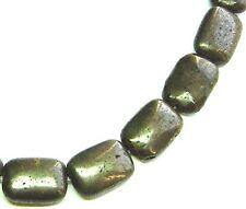 "15.5"" SHINTY NATURAL Pyrite Flat Rectangle ~22 Beads 13x18mm K5201"