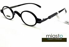 NEW Miasto Retro Mini Oval Round Rx Optical Spectacle Eyeglasses Frames~ BLACK