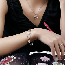 Women 925 Sterling Silver Plated Charm Cute Flower Bracelet Bangle NEW