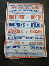 25TH MONDAY APRIL 1983 VINTAGE BOXING POSTER ELEPHANT AND CASTLE ODD TEAR
