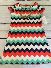 My Michelle Girl's Short Sleeve Chevron Dress With Necklace Easter Size 8 NWT