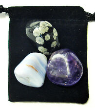 SAGITTARIUS ZODIAC / ASTROLOGICAL Tumbled Crystal Set = 3 Stones + Pouch + Card
