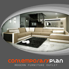 Modern Italian Design Leather Sectional Sofa Taupe and White Large & Low Profile