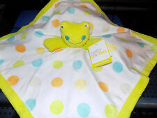 BABY STARTERS SECURITY BLANKET FROG BOY WHITE W/ COLORFUL POLKA DOTS LIME GREEN