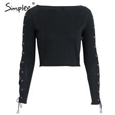 Simplee Women's Black Lace Up T-shirt Blouse Autumn Long Sleeve Crop Tops Tees
